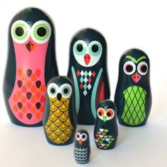 Owl Pocket Nesting Dolls