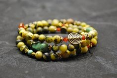 Yellow Turquoise beaded wrap bracelet by BrigidsCrossing on Etsy, $55.00
