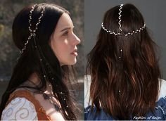 In the first episode Mary wears this Gypsy Junkies Pearl Leather Headpiece($76). Worn with Gillian Steinhardt custom necklace. FIY This headpiece was also woven into Mary's hair in Chill in the Air...
