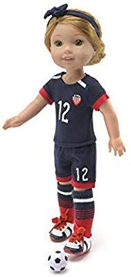 """Pink Soccer Outfit Shoes Fits Wellie Wishers 14.5/"""" American Girl Clothes"""