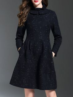 Shop Midi Dresses - Long Sleeve Woven A-line Casual Plain Midi Dress online. Discover unique designers fashion at StyleWe.com.