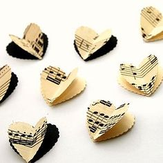 Vintage Musical 3D Heart Table Confetti - table decorations
