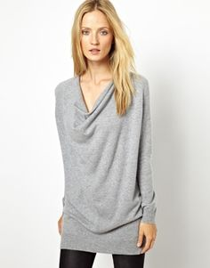 Cocoa Cashmere Cowl Neck Tunic Knitted Sweater in 100% Cashmere