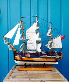 "SALE-FREE Shipping-Vintage Large 20"" HMS Endeavour Wooden Ship Model-Clipper Ship Model-James Cook's Ship-Coastal-Nautical-Maritime-Mancave by ellansrelics02 on Etsy https://www.etsy.com/listing/502755064/sale-free-shipping-vintage-large-20-hms"