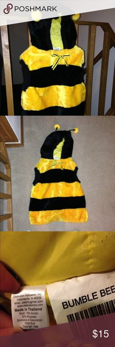 Bumble bee child's costume Used once.  My son was a 3t when he worn it, but is a 5T now and still fits just shorter.   Really super cute.  It could be unisex as it could be worn with black tights and cute shoes vs black pants and sneakers like my son. Costumes Halloween