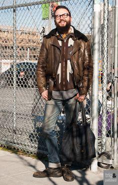 Trig & Polished ::: Promoting Good Men's Style ::: trigandpolished.com menswear streetstyle San francisco vanson leathers, Georgia boot, Pendleton shirt, Highway Gold Jewelry (Etsy) Apc Jeans, Vintage Montgomery Ward Sweater, Biker Bad Boy Style