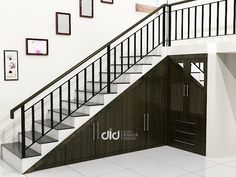 Stair Railing Design, Home Stairs Design, Stair Decor, Home Room Design, Door Design, Minimal House Design, Modern Design, Staircase Storage, House Construction Plan
