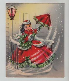 Vintage Girl in Christmas Dress w/ Umbrella Greeting Card
