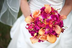 Hot pink and orange wedding.