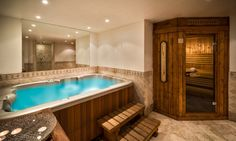 Chalet Hermine - Private hot tub and sauna, perfect place to relax those aching muscles after a day's skiing Courchevel 1850, Jacuzzi Hot Tub, Ski Chalet, Corner Bathtub, Perfect Place, Muscles, Skiing, Relax, France