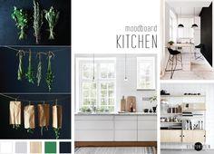 BLOG . moodboard kitchen by VIERPUNTTIEN Simple en minimalistic kitchen with green, black en natural, wooden details.