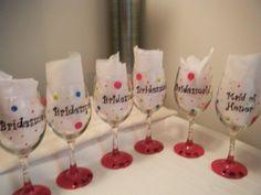 Bridesmaids Wine glasses :  wedding blue bridesmaids diy green pink wine glass 248809 10100159017848893 14202110 47996420 5407592 N