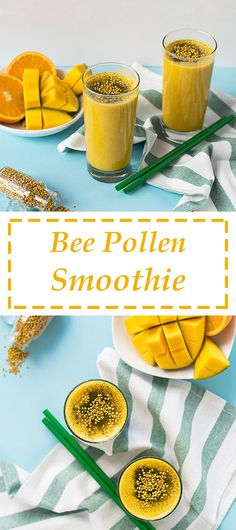 This smoothie tastes like spring! This is a vibrant, delicious and refreshing recipe with flowery notes and multiple health benefits from the fruits and the fresh bee pollen. Turmeric Smoothie, Juice Smoothie, Smoothie Drinks, Fruit Smoothies, Smoothie Recipes, Smoothie Cleanse, Vegetarian Smoothies, Healthy Breakfast Smoothies, Honey Benefits