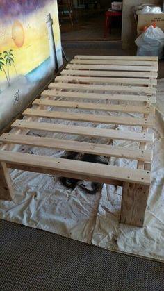 DIY twin platform bed frame DIY twin platform bed frame The post DIY twin platform bed frame appeared first on Wood Ideas. Pallet Twin Beds, Diy Twin Bed Frame, Twin Platform Bed Frame, Bed Frame Plans, Bed Plans, Diy Frame, Platform Beds, Diy Wood Bed Frame, Ikea Twin Bed