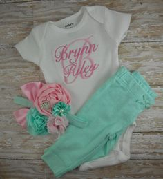 bring home baby baby girl outfit pink mint by LittleQTCouture