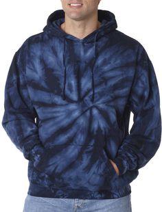 tie dye adult tie-dyed pullover hoodie - navy (s)
