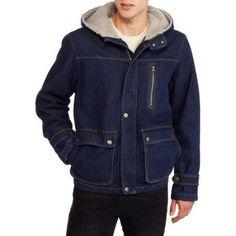 Wrangler Men's Hooded Canvas Jacket, Blue