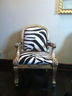Zebra print + gold armchair