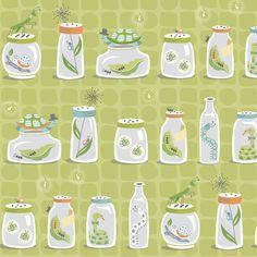 Bug Jars on Green fabric by pattysloniger on Spoonflower - custom fabric