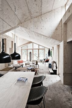 INTERIOR FROM VILLA ASSERBO, DENMARK. THE HOUSE, BUILT FROM SUSTAINABLE WOOD AND MADE USING DIGITAL SOFTWARE, IS A KIT OF PARTS THAT TOOK JUST SIX WEEKS TO CONSTRUCT.