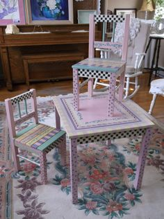 Hand painted children's table and chairs. Perfect for a little girl's tea party!