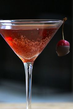 Red Cocktails ❥ Chocolate Cherry Kiss Martini: Godiva vodka and sparkling cherry juice by Your Southern Peach