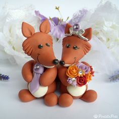 Fox  in love cake topper with heart banner for names and date. $75.00, via Etsy.