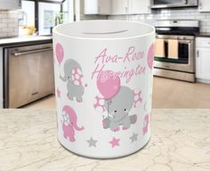 Personalised elephant money box Pink or Blue customised child's kids savings pennies gift present ceramic birthday birth baby https://www.etsy.com/uk/listing/518607063/personalised-elephant-money-box-pink-or