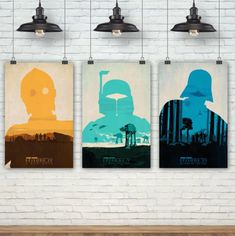 Any Star Wars fan would be proud to hang these three modern, colorful posters of Boba Fett, and Darth Vader in their home. Star Wars Bedroom, Epson Ink, Star Wars Gifts, Star Wars Poster, 3 Arts, Boba Fett, Boy Room, Gifts For Him, Gift Guide