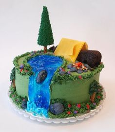 great+outdoors+cake+decorating+ideas   blue and gold banquet cake decorations