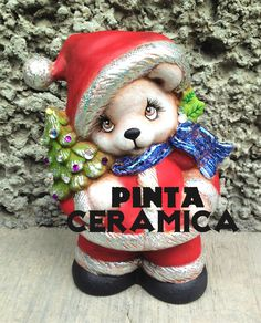 DIY oso navideño de cerámica foil pincel seco paint ceramic christmas Christmas Crafts For Kids, Christmas Decorations, Christmas Ornaments, Holiday Decor, Sculpture Clay, Ceramic Painting, Malta, Teddy Bear, Ceramics