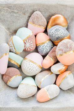 Gastgeschenk Hochzeit, Strandhochzeit, bemalte Steine, Bohohochzeit