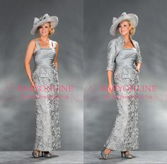 Sheath Silver Lace Mother of the Bride dresses with Jacket Gowns Formal Evening Gowns Women