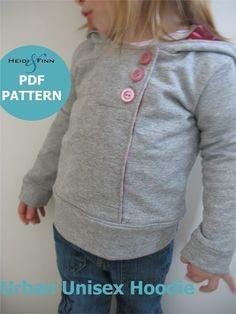 Urban Unisex Hoodie pattern and tutorial 6M - 5T PDF pattern DIY boy girl. $6,00, via Etsy.
