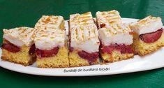 Prajitura cu prune(sau alte fructe) si bezea - Bunătăți din bucătăria Gicuței Cheesecake, Desserts, Food, Tailgate Desserts, Deserts, Cheesecakes, Essen, Postres, Meals