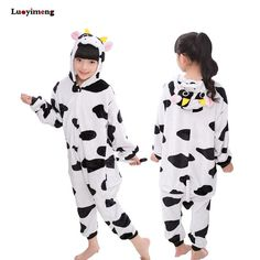 71177902e8 Cow Panda Unicorn Kigurumi Pajamas Flannel Pyjamas Kids Cosplay Cartoon  Animal Baby Girl Clothes Boys Sleepwear