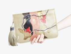 Vintage 70s Brown Snakeskin PURSE / 1970s Carlo Fiori Patchwork Leather Clutch