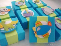 teal baby shower boxes