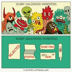 """""""Mostri spaventosi dell'infanzia. Mostri spaventosi dell'età adulta (Respinto, positivo, sei licenziato, debito)."""