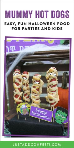 Welcome to Franks 'n Steins...home of the Haunted Hot Dog and a Graveyard Root Beer Garden that's to die for! This Frankenstein Halloween party is so much fun! Full of easy Halloween party ideas, decor, food and printables that you can recreate in no time. Don't miss our famous haunted mummy hot dog too! Made with Crescent roll dough these mummy dogs are so good it's scary! Be sure to head to our Just Add Confetti Etsy shop to grab all of the printables for this adorable celebration!