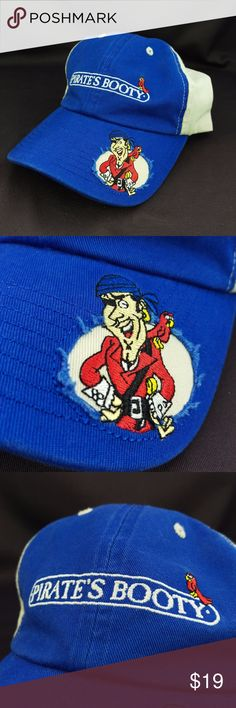 Pirates Booty Baseball Cap Hat Distressed Velocity Pirate's Booty Corn Puffs brand hat, baseball cap.  Adjustable strap back. Distressed pirate logo on bill. Company logo on front.  Excellent clean condition. Smoke free. Velocity Headware Accessories Hats