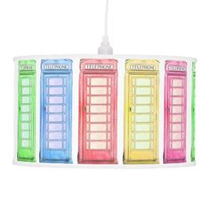 red british phone box - multicolor hanging lamps