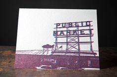 Public Market Overprint Letterpress Card by PikeStreetPress, $6.00