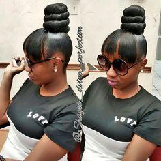 TOP KNOT BUN | BLACKHAIR  #TopKnotBun #DFWStylist #ArlingtonStylist #Mastered #LifeWithoutParole #IceCreamTop #FaithfulClient #BlackHair #BookMe #Like #Share #Comment  IG@Shayes_dvine_perfection Book online at; ➡Www.styleseat.com/shalandawilliams2