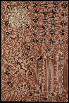 Jeanie Egan Nungarrayi (Yuendumu, Australia) Wallaby, fuchsia, bush onion and sugarleaf dreaming, 1990 Canvas Aboriginal Painting, Aboriginal Artists, Dot Painting, Indigenous Australian Art, Indigenous Art, Textures Patterns, Print Patterns, Kunst Der Aborigines, Aboriginal Culture