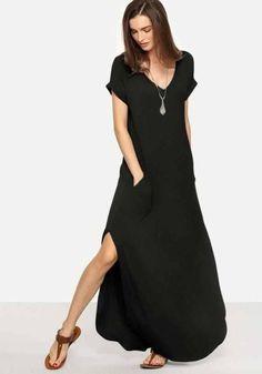 Moda anti-idade: A elegância dos Vestidos Pretos Cute Summer Outfits, Spring Outfits, Summer Dresses, Side Split Dress, Casual Dresses, Dresses For Work, Maxi Dresses, Travel Dress, Moda Plus Size