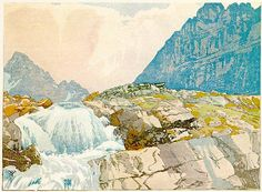 Walter J. Phillips(Canadian, 1884-1963) Mountain Torrent 1926 colour woodcut on paper
