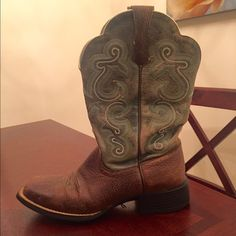 Ariat Boots 8.5 Cowboy/cowgirl boots, brown and teal color, worn very few times. Ariat Shoes Heeled Boots
