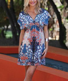 Love this Angie Apparel Blue Lotus Surplice Dress by Angie Apparel on #zulily! #zulilyfinds