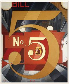 Charles Demuth - currently hangs in the Metropolitan Museum of Art. Homage to his friend, the poet William Carlos Williams, inspired by one of his poems.